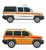 Ilustración de vector de vehículo de coche de salvavidas de rescate aislado sobre fondo blanco