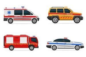 vehículos de varios servicios de emergencia y rescate ilustración de vector de coche aislado sobre fondo blanco