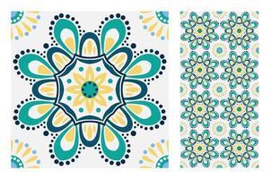 vintage tiles patterns antique seamless vector