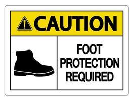 Precaución protección de los pies requiere señal de pared sobre fondo blanco. vector