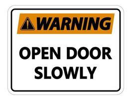 Advertencia de puerta abierta lentamente signo de pared sobre fondo blanco. vector