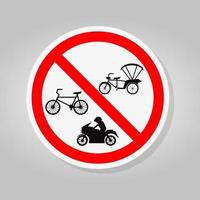 Prohibit Bicycle Tricycle and Motorcycle Sign vector