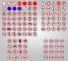 Set Traffic Signs Prohibition Warning Red circle Symbol Sign vector