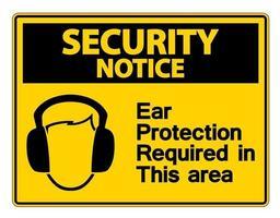 aviso de seguridad se requiere protección para los oídos en esta área símbolo signo vector
