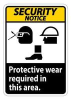 Security Notice Sign Protective Wear Is Required In This Area With Goggles Hard Hat And Boots Symbols on white background vector