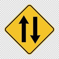 Two way traffic ahead sign vector