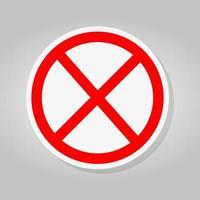 no hay letrero vacío rojo tachado círculo no permitido firmar vector