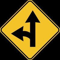 Left turn split sign on white background vector