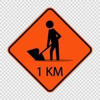 La construcción de carreteras por delante de la señal de 1km vector