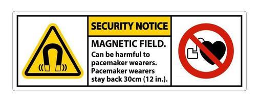 aviso de seguridad el campo magnético puede ser perjudicial para los usuarios de marcapasos los usuarios de marcapasos se quedan atrás 30 cm vector