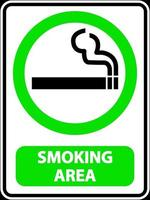 smoking area sign label on white background vector