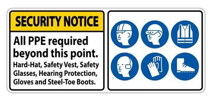 Security Notice PPE Required Beyond This Point Hard Hat Safety Vest Safety Glasses Hearing Protection vector