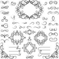 conjunto de elementos de diseño caligráfico rizado vector
