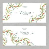 floral invitation cards for your design vector
