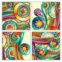 Set of four abstract doodle  vector cards