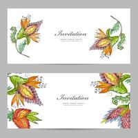 Invitation cards with exotic abstract flowers vector