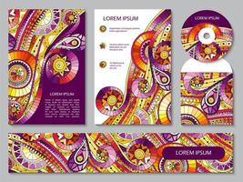 Corporate identity template with tribal doodles vector