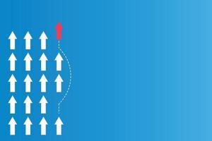 tener liderazgo o conceptos diferentes con direcciones de flecha roja y papel blanco y líneas de ruta sobre un fondo azul vector