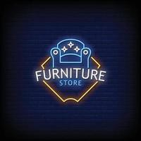 Furniture Store Neon Signs Style Text Vector