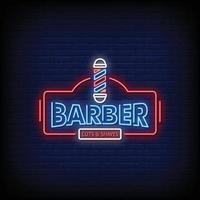 barbero logo letreros de neón estilo texto vector