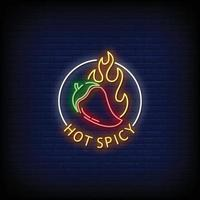 Hot Spicy Neon Signs Style Text Vector
