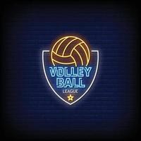 Volley Ball League Neon Signs vector