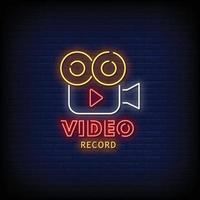 Video Record Neon Signs Style Text Vector