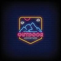 Outdoor Adventure Neon Signs Style Text Vector