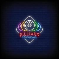 Billiard Championship Neon Signs Style Text Vector