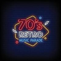 Retro Music Parade Neon Signs Style Text Vector