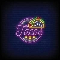 Tacos Neon Signs Style Text Vector