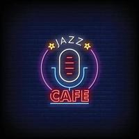 Jazz CAfe Neon Signs Style Text Vector