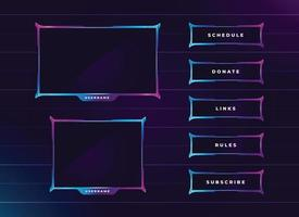 modern neon colour twitch streaming panel set vector