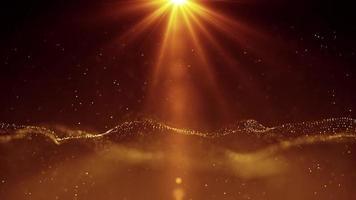 agitando partículas malla con luz solar espacio celestial adoración video de fondo