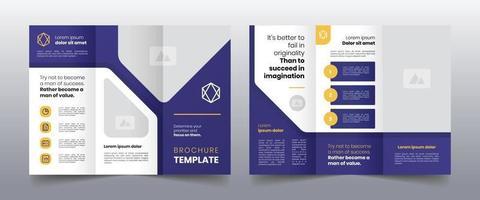 modern purple trifold business brochure template vector