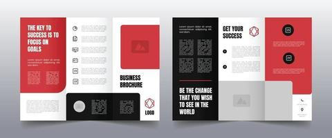 modern red trifold business brochure template vector