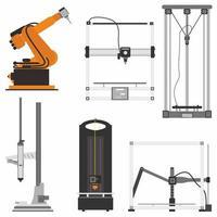 Conjunto de iconos planos modernos de impresora 3d con diferentes tipos, como impresora 3d cartesiana vector
