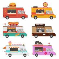 Establecer colección de pizza de camión de tienda de comida rápida vector