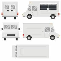 Set of white food truck vector