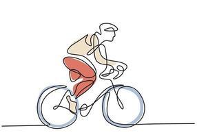 Un dibujo continuo de una sola línea de un joven montando bicicleta para hacer ejercicio. vector