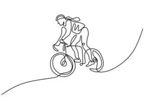 dibujo continuo de una sola línea del tren de enfoque de ciclista joven vector