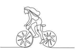 Dibujo continuo de una sola línea de joven ciclista centrarse en entrenar su habilidad en la calle vector