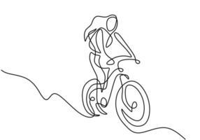 Un dibujo de línea continua de joven deportista montando bicicleta y realiza un truco en bicicleta vector