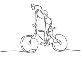 un dibujo de línea continua de una joven mujer deportiva montando bicicleta vector
