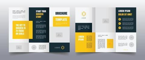 modern yellow trifold business brochure template vector