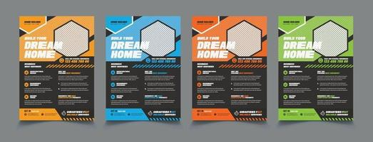 Building Construction Flyers Templates and Designs set vector