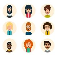Set of nine avatar vector icons in simple flat style
