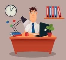moderno, creativo, joven, hombre de negocios, sentado, en la mesa vector