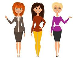 Young pretty women in smart office clothes vector