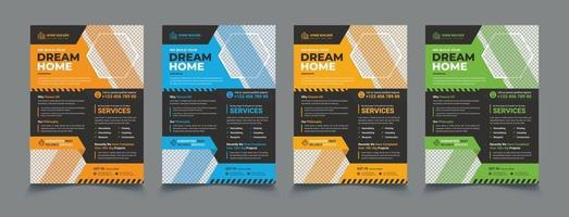 House repair cover A4 template set vector